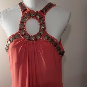 Peach bejeweled maxi dress 16